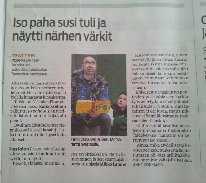 Etelä-Suomen Sanomien arvostelu Isosta Pahasta Sudesta