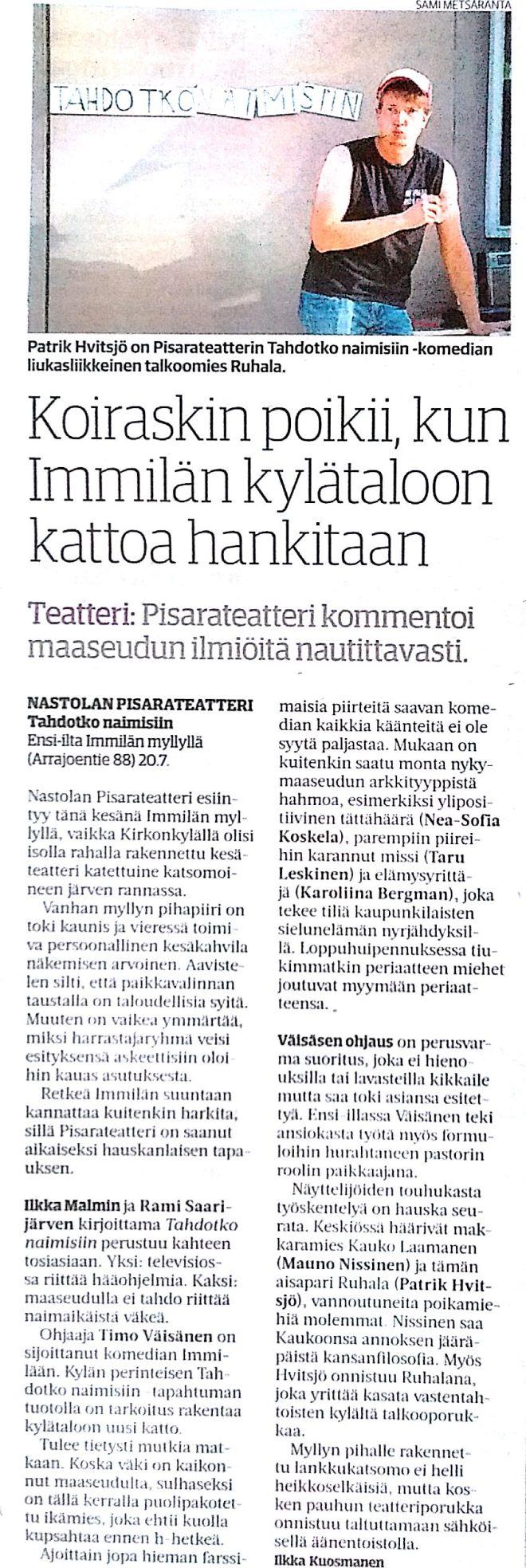 Teatteriarvostelu, Ilkka Kuosmanen (ESS 25.7.2016)